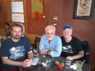 "From left to right: Andy Wilson (OSSTF District 25, Ottawa); Tim Heffernan (OSSTF District 12, Toronto); Janice Patterson (OSSTF District 12, Toronto) At ""Veg Out"", great vegan restaurant"